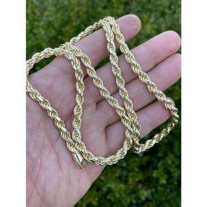 HarlemBling 14k Gold 925 Silver Rope Chain Necklac